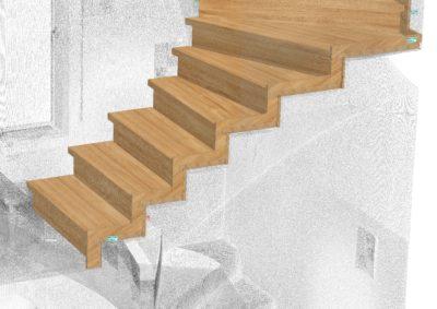 Obklad betonového schodiště na 3D skenovaný prostor