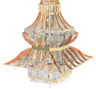 Rekonstrukce kostelní veže podle skenu původní věže